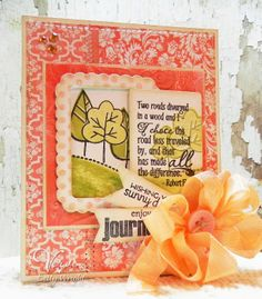 Card by Betty Wright using Verve's Beautiful You,  Bountiful Backgrounds, Autumn Splendor,  Sunny Days, and Christmas in the Air stamp sets along with Verve's Cut Above Flag It, Rounded Rectangle, and Rounded Scallop Frame dies.  A seam binding bow in Tangerine using Verve's Spring Fling Ribbon Collection completes the card.