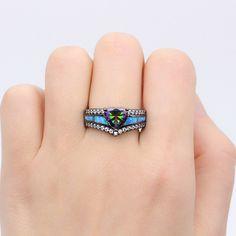 Cadeau Spécial traingle de forme Brillant Rainbow Mystique Topaz Silver Ring Taille 7 8 9