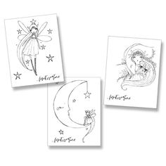 Three black and white coloring pages by Joti Marra Ramsey for Forest Creature.Star Fairy / Family / Moon FairyPurchase this set and you will be emailed a link to download the three page PDF...