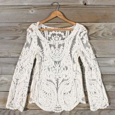 Laced in Snow Blouse, Sweet Bohemian tops $44. I'm obsessed with this website!