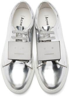 Acne Studios Silver Metallic Leather Adriana Sneakers