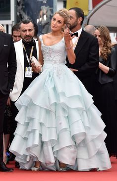 Blake Lively.. Vivienne Westwood Couture Bridal 2015 Princess gown, Christian Louboutin So Tango Pumps, Oscar de la Renta Pre-Fall 2016 Clutch, and Lorraine Schwartz Jewels.. #stylethebump