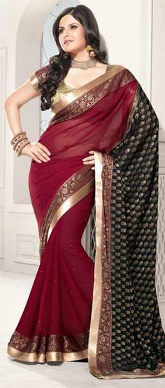 Red and Black Faux Chiffon #Saree With Blouse @ $69.78 | Shop Here: http://www.utsavfashion.com/store/sarees-large.aspx?icode=sme20