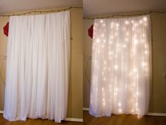 Easy way to create a photo shoot / booth backdrop. White sheet and white lights. So Simple and affordable.