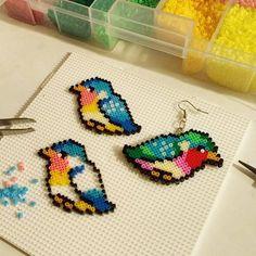 Bird earrings hama mini beads by hicelina