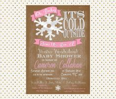 Winter Wonderland Baby Shower Invitation   Oh Baby Snowflakes   Rustic  Vintage Vibe On Etsy,