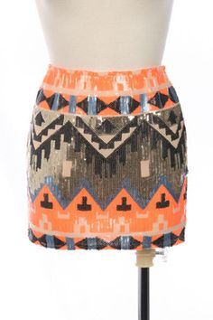 TRIBAL SEQUIN SKIRT - White/Coral | Sequins, Coral and Hand washing