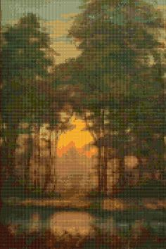 Forest Sunset Cross stitch pattern PDF - EASY chart with one color per sheet AND traditional chart! Two charts in one! by HeritageChart on Etsy