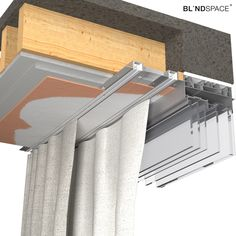 Drapery systems from companies such as Lutron, Silent Gliss and Somfy can be recessed in the ceiling using Reese tracks from Blindspace. Ceiling Curtain Track, Ceiling Curtains, The Ceiling, Curtain Track System, Ceiling Detail, Skylight Blinds, Blinds For Windows, Curtains With Blinds, Window Coverings