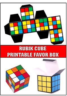 Rubik's Cube Style Printable Favor Box Tense Teenage Party Games Teenage Party Games, Childrens Party Games, Teenage Parties, Kids Party Games, 80s Birthday Parties, Happy Birthday, Birthday Games, Deco Disco, Graduation Party Games