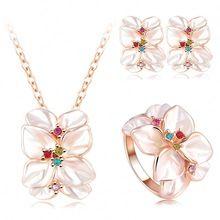 Venta caliente de La Joyería de Oro Rosa Cristalino Austríaco Plateado Esmalte Del Pendiente/Del Collar/Anillo de Flor Del Set,…