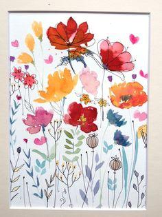 Original Watercolour Floral Painting- Wild Flowers- by Annabel Burton