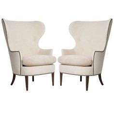Attributed to Edward Wormley for Dunbar Pair of Early Wing Chairs, 1930s | From a unique collection of antique and modern lounge chairs at http://www.1stdibs.com/furniture/seating/lounge-chairs/