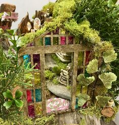Sweet song Abode is another wood based fairy-house from the workshop of VisitingVintageLane, and is constructed from the root of an old fir tree brought back from Northern Idaho. This creation is the combined craftsmanship of my daughter and partner in the business , Jessica, and