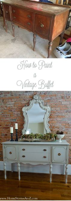 a Vintage Buffet How to paint a vintage buffet - great tutorial with tips no matter what vintage furniture you're repainting!How to paint a vintage buffet - great tutorial with tips no matter what vintage furniture you're repainting! Refurbished Furniture, Paint Furniture, Repurposed Furniture, Shabby Chic Furniture, Furniture Projects, Furniture Making, Furniture Makeover, Vintage Furniture, Furniture Design