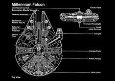 Star Wars - Millennium Falcon - Blueprint Poster Leia Star Wars, Star Wars Boba Fett, Star Wars Clone Wars, Star Wars Art, Star Trek, Millennium Falcon Blueprint, Star Wars Girls, Star Wars Action Figures, Star Wars Poster