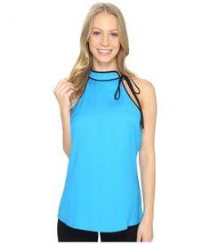 Calvin Klein Tie Halter Top (Adriatic Blue) Women's Clothing