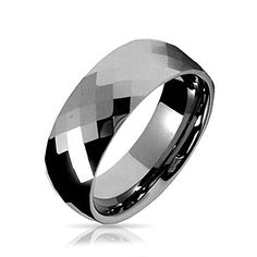 Multi faceted Tungsten Wedding Band Ring 8mm.More info for bridal jewellery sets online;pearl wedding bracelet;bridal jewellery sets online;where to buy bridal jewelry;wedding earrings could be found at the image url.(This is an Amazon affiliate link and I receive a commission for the sales)