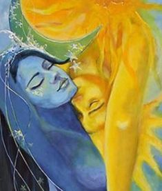 "Sun + Moon (Art: ""Lovers"" by Dorina Costras) Sun Moon Stars, My Sun And Stars, Art Amour, Psy Art, Moon Art, Moon Moon, Dark Moon, Fantasy Art, Art Photography"