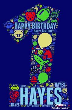 Custom Number 1 Word Art. Happy First Birthday Personalized Word Art graphic for a boy. Comes with fun emojis and icons of animals, transportation, vehicles, birthday, and sports. Custom birthday card or as a download for a social media greeting. Created by Polka Dot Heart Art. Word Cloud Art, Word Art, Happy First Birthday, First Birthdays, Cool Emoji, Heart Art, Note Cards, Transportation, Birthday Cards