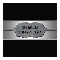 Black Metal Mans Retirement Party Invitation