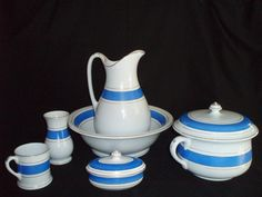 Thumbnail of Wash Basin Pitcher 9 Pc. My Favorite Color, My Favorite Things, Antique Show, Blue And White China, Vintage Country, Basin, Pottery, Dishes, Antiques