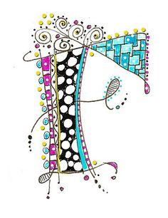 """F"" for the fabulous Ms Martha Lever Zentangle letter Doodle Lettering, Creative Lettering, Typography, Doodles Zentangles, Zentangle Patterns, Doodle Drawings, Doodle Art, Fancy Letters, Calligraphy Letters"