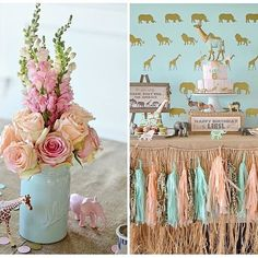 Beutiful girls wild safari party by love the pastel color palette! Gold giraffe cake topper by Painted Parade, the tassles by Glam Fete Giraffe Birthday, Wild One Birthday Party, Safari Birthday Party, Girl First Birthday, Baby Party, First Birthday Parties, Birthday Ideas, Jungle Party, 30th Birthday
