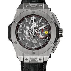 Hublot Big Bang Ferrari Titanium     Limited to 1,000 pieces, this watch is engraved with the Ferrari logo as well as a red lacquer coating on the push piece. At 45.5 mm in diameter, the case features a polished satin-finished titanium bezel. Price: $26,000