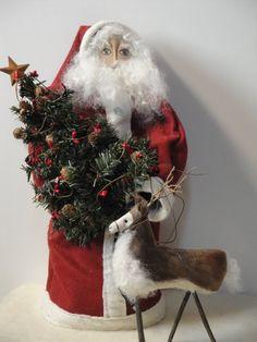 Primitive Santa Doll with Reindeer on Etsy, $50.00