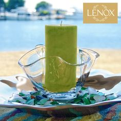 Centerpiece | Lenox Organics Collection complement each other. For this beach party, I chose to place an Organics bowl atop the platter from the round Chip 'n' Dip. © 2012 Ellin Smith | Product Featured: Organics Collection.