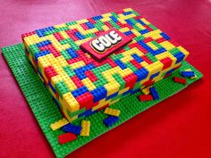 I like the cake tray using a Lego base plate or even generic candies without a logo stuck to a color wrapped tray.