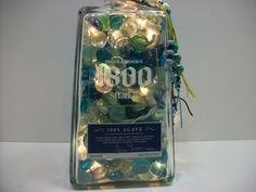Lighted Bottles  Liquor Bottle Lamp  Home by AuroraBottleLights, $32.00