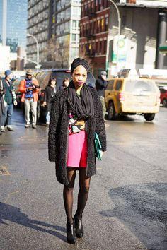 Spot bold colors underneath black basics #streetstyle #NYFW #fashionweek