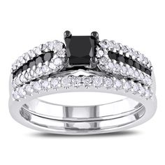 Miadora Sterling Silver 1ct TDW Black and White Diamond Ring Set (H-I, I2-I3) | Overstock.com Shopping - Top Rated Miadora Bridal Sets