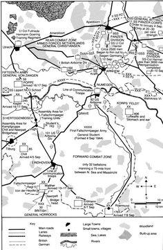Slagveld: overzicht van de posities van de verschillende legeronderdelen van Geallieerden en Duitsers.