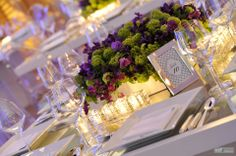 Pretty tablescape {Cherry Plum Events: Wedding flowers and decor: Mirror box with purple and green flowers} Purple Wedding Flowers, Green Flowers, Green Wedding, Wood Flower Box, Flower Boxes, Green Centerpieces, Wedding Centerpieces, Centerpiece Ideas, Gel Candles
