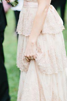 blush pink lace gown, photo by Lea Bremicker http://ruffledblog.com/whimsical-german-wedding #bhldn #blushpink #weddingdress