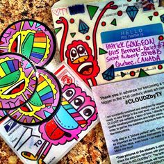 A pack of stickers by NYC street artist, TY, sent to a friend in Canada - #StreetArt #StreetArtStickers #StickerPorn #StickerSwap #StickerDesign #CLOUDZbyTY