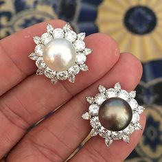 Bulgari Pair of Mismatched Natural Pearl and Diamond Ear Clips, c.1955 #ForSale #FDGallery For inquiries, please email: info@FD-Gallery.com #Bulgari #BulgariEarrings