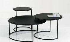Naos, tables basses gigognes design italien, structure métal, plateau laqué…
