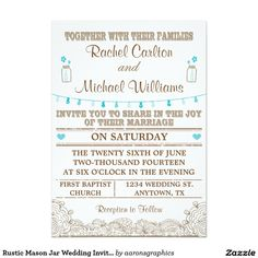Rustic Mason Jar Wedding Invitation Teal