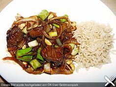 chinese recipes Rindfleisch mit Z - recipes Thai Beef Recipe, Roast Beef Recipes, Sausage Recipes, Meat Recipes, Vegetarian Recipes, Cooking Recipes, Fish Recipes, Vegetable Recipes, Asian Recipes