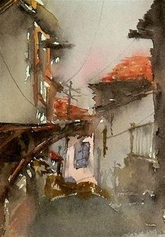 """Daily Paintworks - """"Everything remains in the past"""" - Original Fine Art for Sale - © Mineke Reinders Watercolor City, Watercolor Drawing, Watercolor Landscape, Watercolour Paintings, City Scene, Watercolor Techniques, Fine Art Gallery, Art Blog, Female Art"""