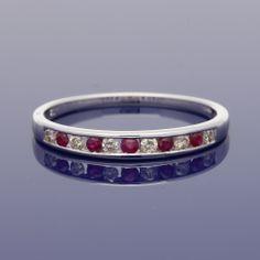 18ct Ruby & Diamond Eternity Ring £1,050.00 Eternity Ring Diamond, Gold Art, Wedding Bands, Metal, Bracelets, Rings, Jewelry, Style, Swag