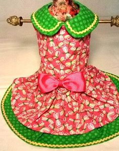 Small Pink & Green Dragonflies Dog Harness Dress by ayChihuahua