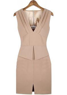 Pink V Neck Sleeveless Split Bodycon Dress
