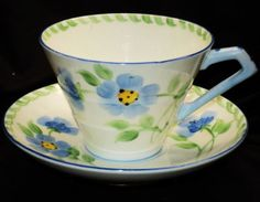 ROYAL PARAGON ENGLAND CORSET ART DECO HP BLUE GREEN WHITE TEA CUP AND SAUCER