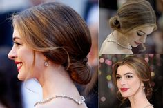 Anne Hathaway - Best updos, up, do, hair, hairstyle, hairstyles, inspiration, celebrity, wedding, styles, beauty, Marie Claire