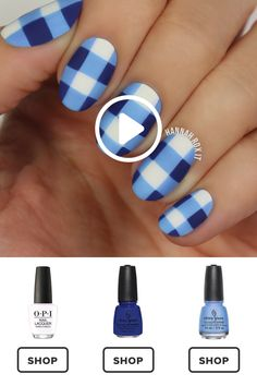 How to Get a Blue Gingham Nail Manicure - Nail Art Nail Design At Home. Do you want to try to go to Do-it-yourself nail art however where do you start? First of all you need to do is get your hands on some fundamental nail art specific tools. Fancy Nails, Trendy Nails, Diy Nails, Cute Nails, Neon Nails, Nail Art Videos, Nail Art Designs Videos, Manicure E Pedicure, Nagel Gel